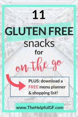 gluten free snacks on the go pin for pinterest
