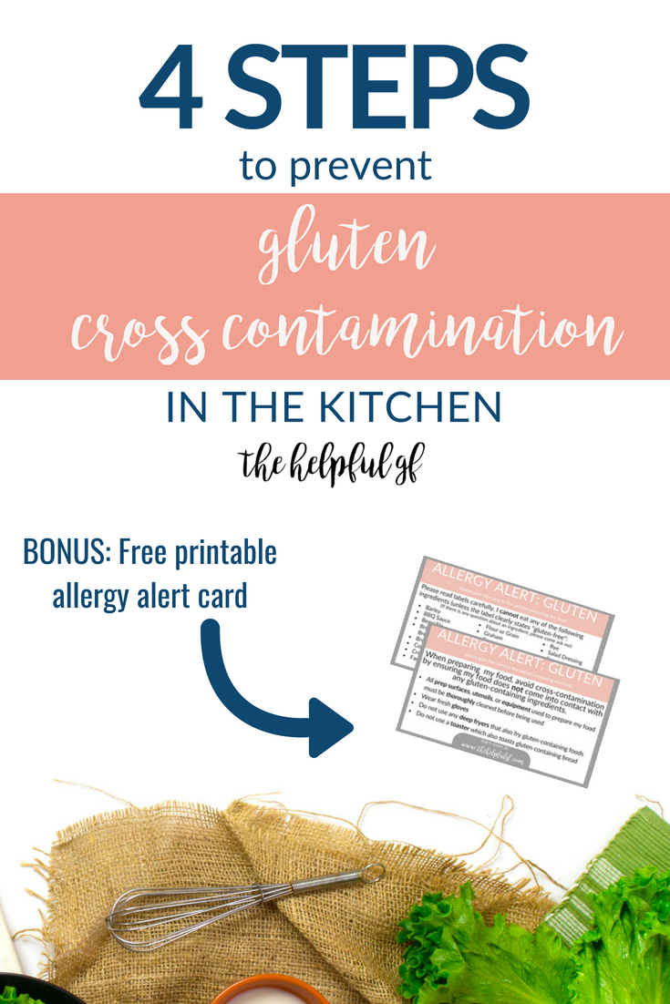 While having a completely gluten-free kitchen is ideal for people with Celiac Disease, it is not always practical. So how can you be sure that there is no cross contamination from gluten? Here are my 4 simple kitchen tips to avoid cross-contaminating gluten-free food when preparing meals for people on a gluten-free diet whether they have Celiac Disease, a food allergy, or other sensitivity. #glutenfree #essentials #stressfreeglutenfree