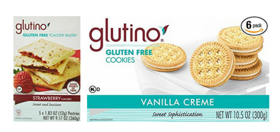 Glutino toaster pastries and vanilla cookies