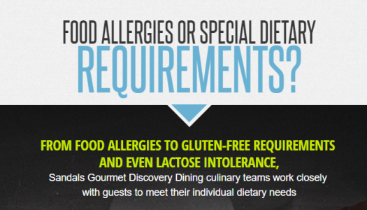 Sandals accommodations for stayinggluten-free when traveling to an all-inclusive resort.