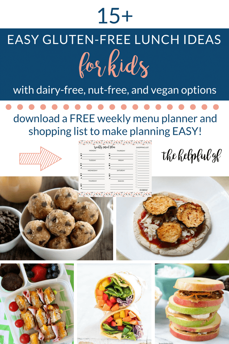 This is a roundup of 15 fun and easy gluten-free school lunch ideas for kids to pack for school. The list includes many dairy-free, nut free, and vegan options as well. These ideas are simple, quick, and healthy ideas to make ahead for easy packing!