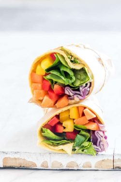 rainbow vegetable tortilla wrap