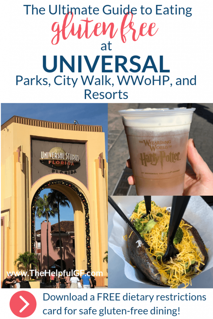 image of universal entrance, butter beer, and baked potato