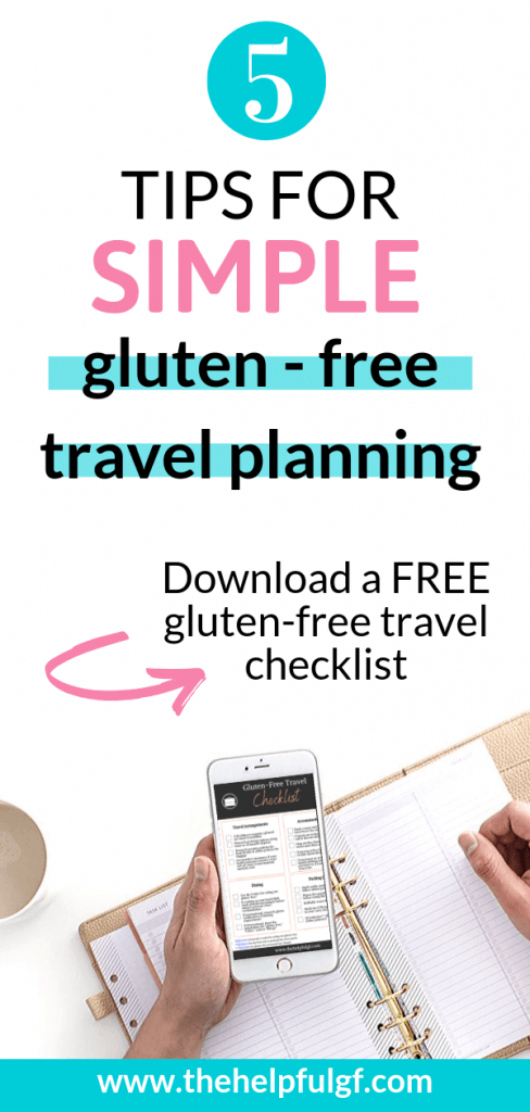 pin image with phone containing free printable travel checklist and writing in planner