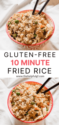 two bowls of gluten free chicken fried rice