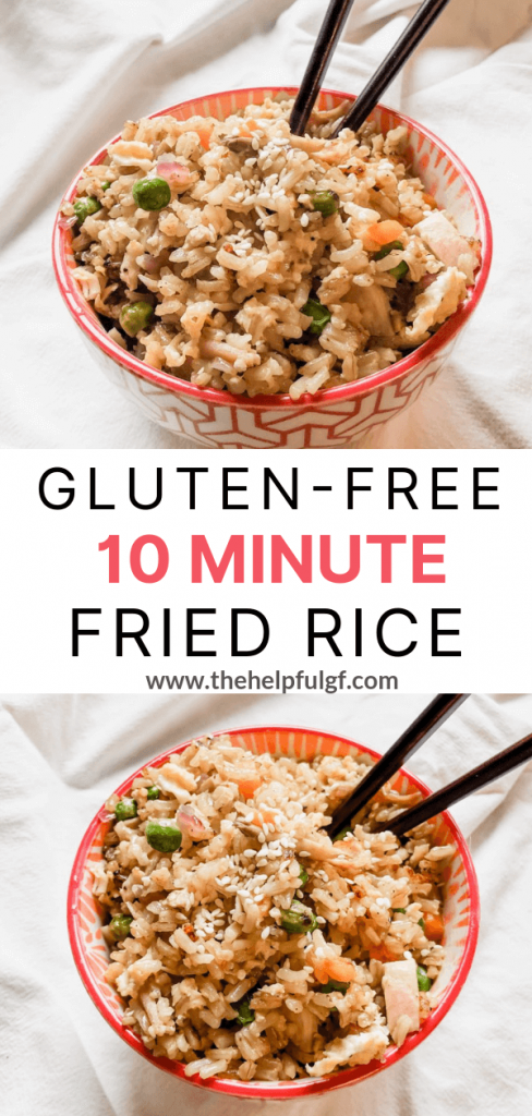 2 images of gluten-free chicken fried rice with text