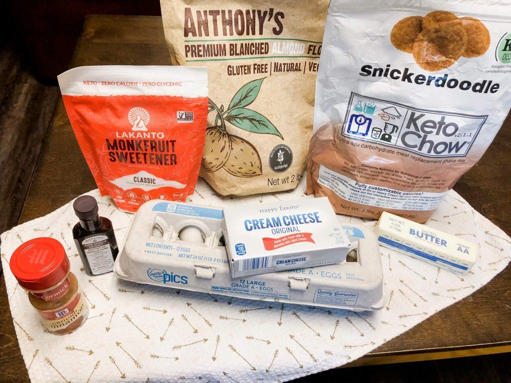 ingredients for Gluten-Free Keto Cinnamon Swirl Protein Muffins