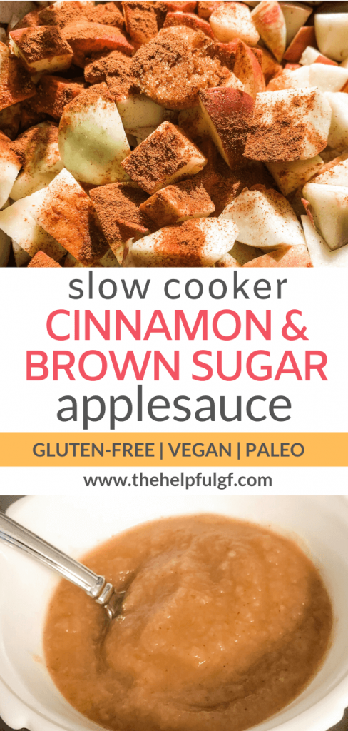 slow cooker brown sugar and cinnamon applesauce vegan and gluten free pin 1