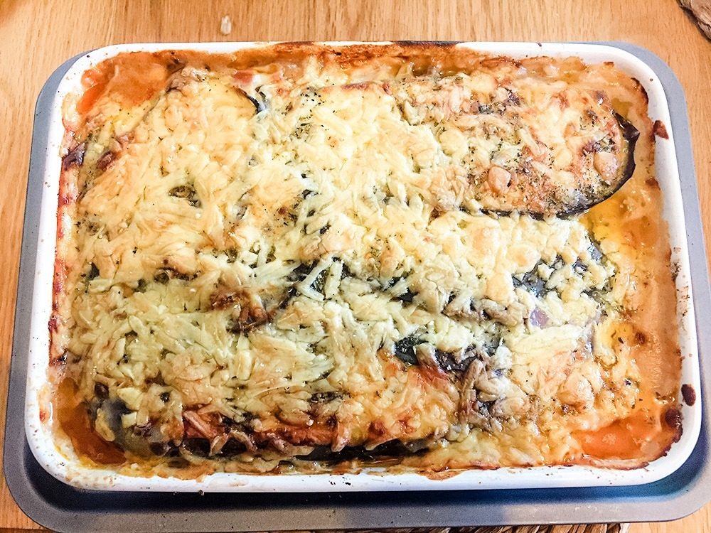 gluten-free Moussaka in casserole dish Image