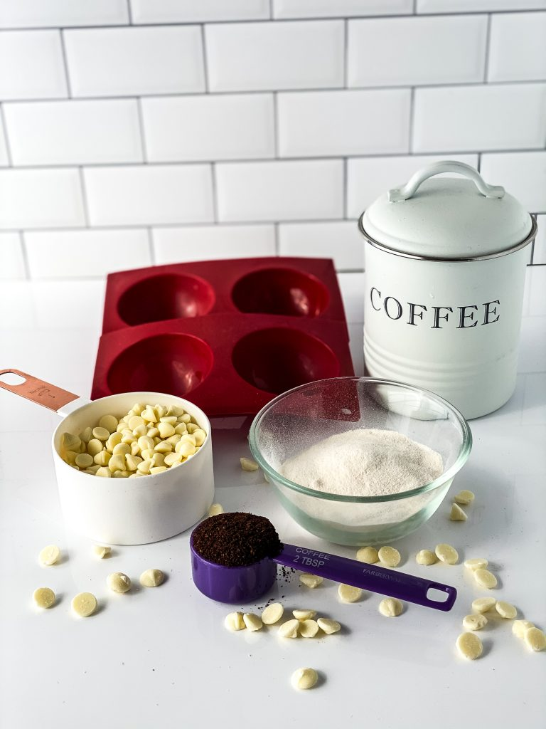 Ingredients for coffee bombs white chocolate coffee powdered creamer