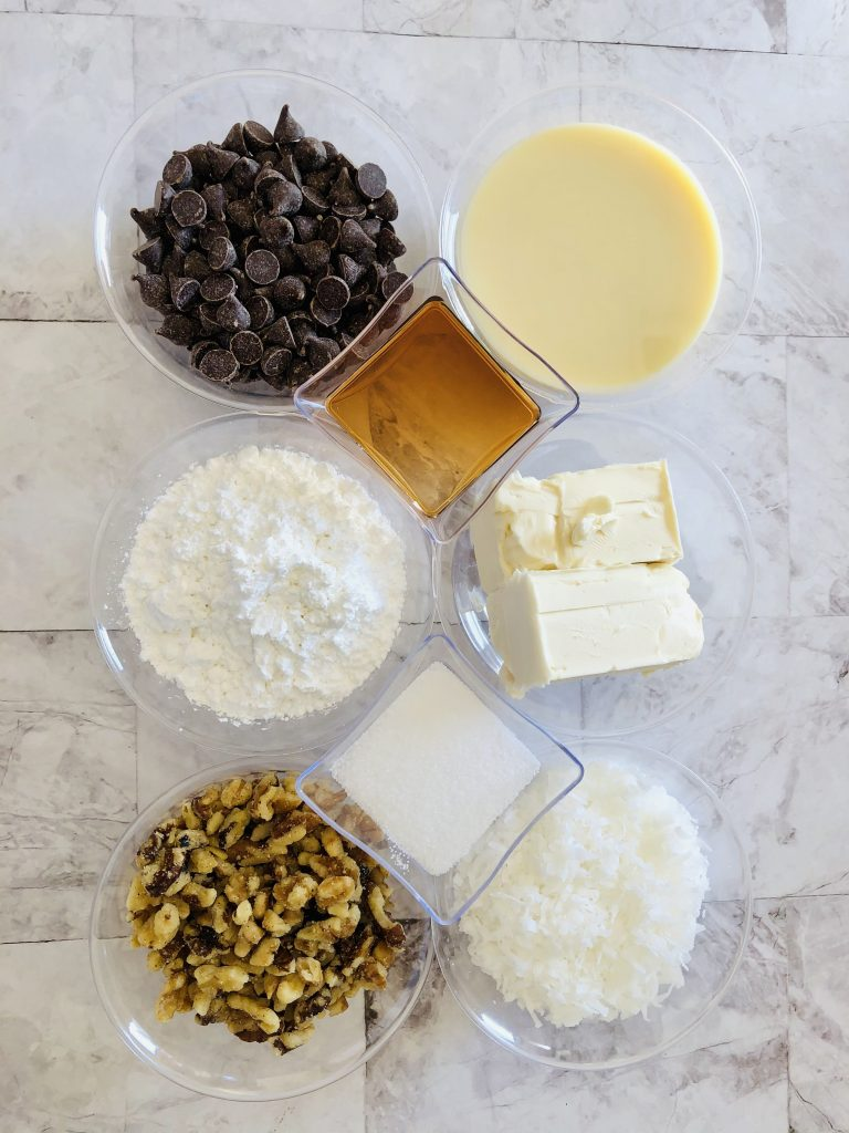 ingredients for gluten-free coconut candy recipe no bake
