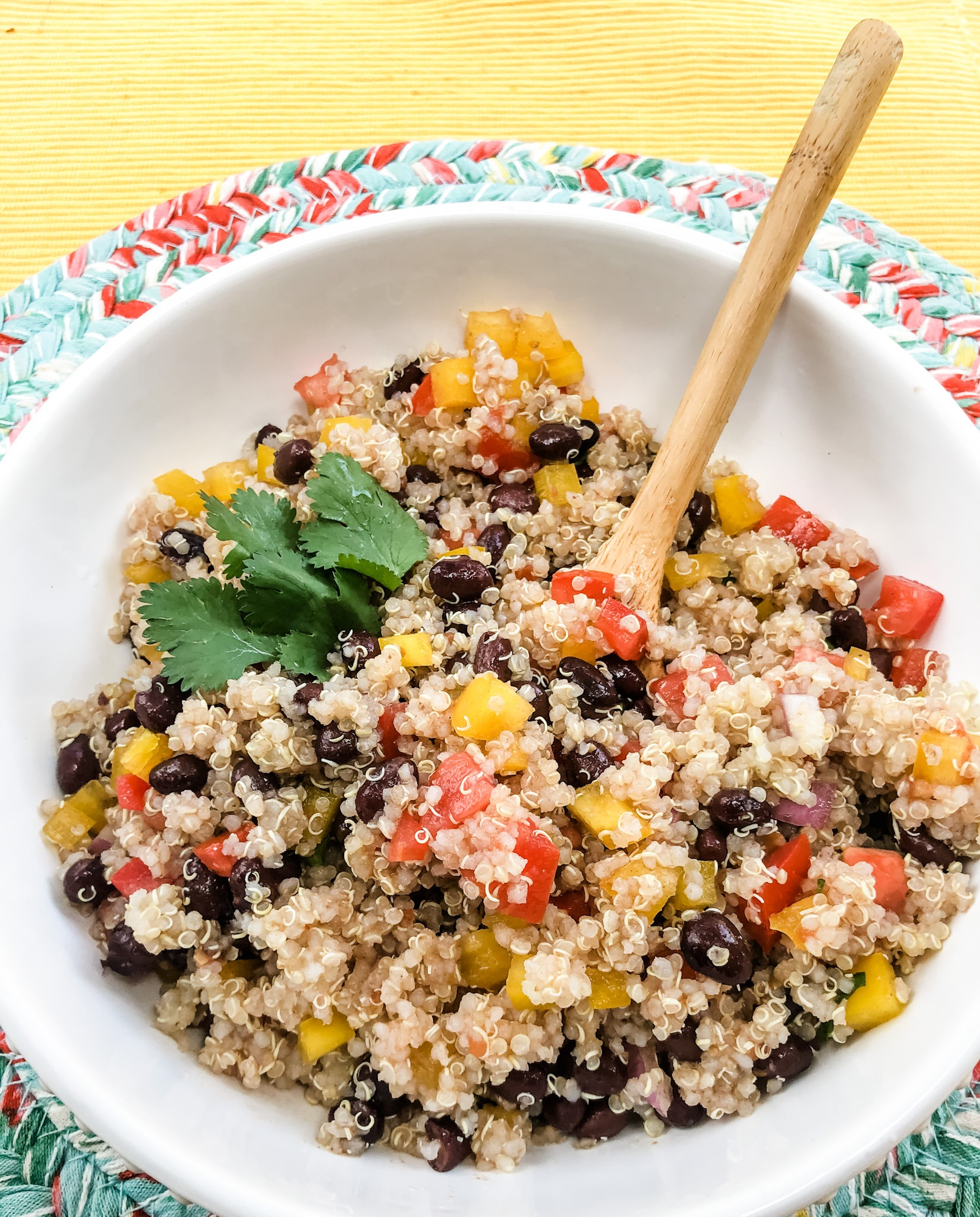 Mexican Quinoa Close Up with wooden spoon