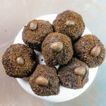mocha espresso truffles on plate vertical image