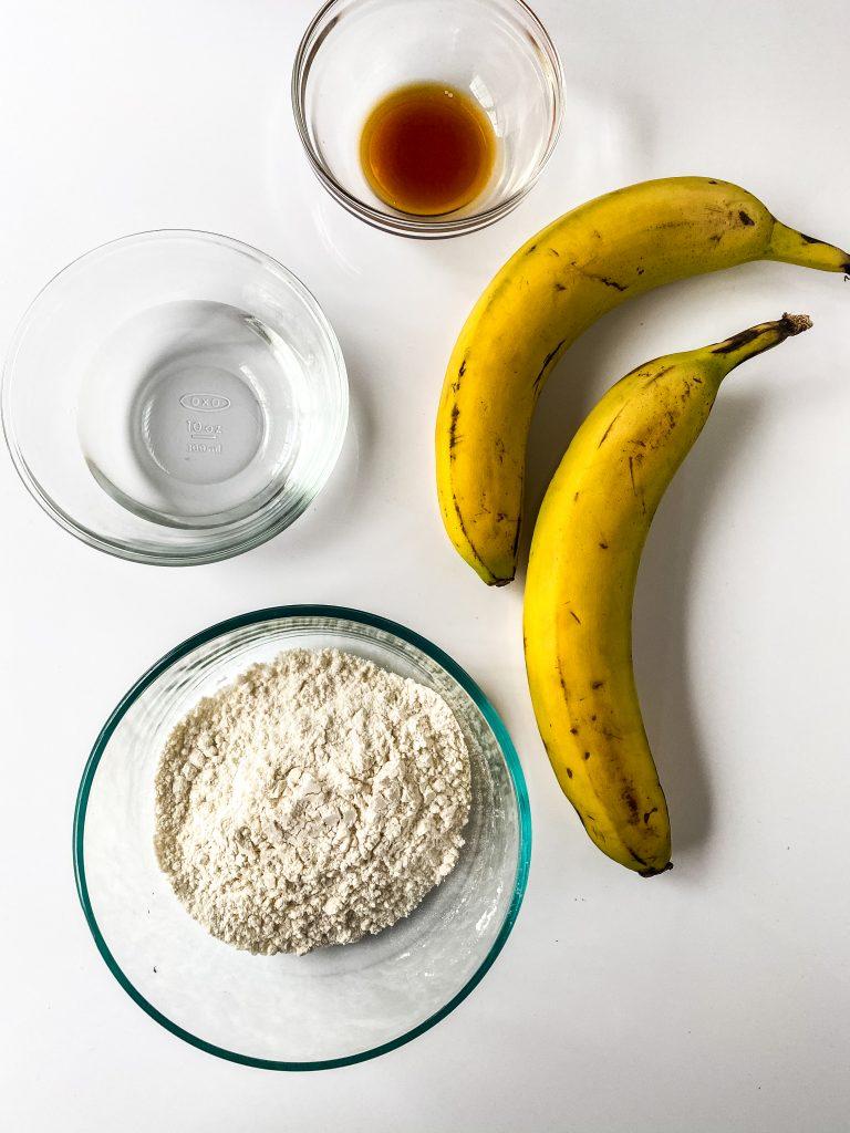bananas, pancake mix, water, vanilla extract