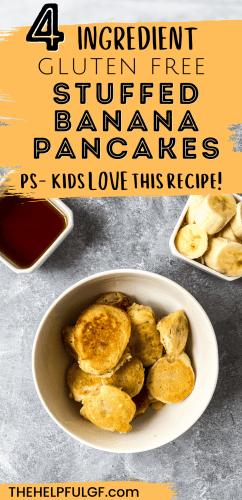 pin image with bowl of banana pancake dippers with bowl of banana and syrup.