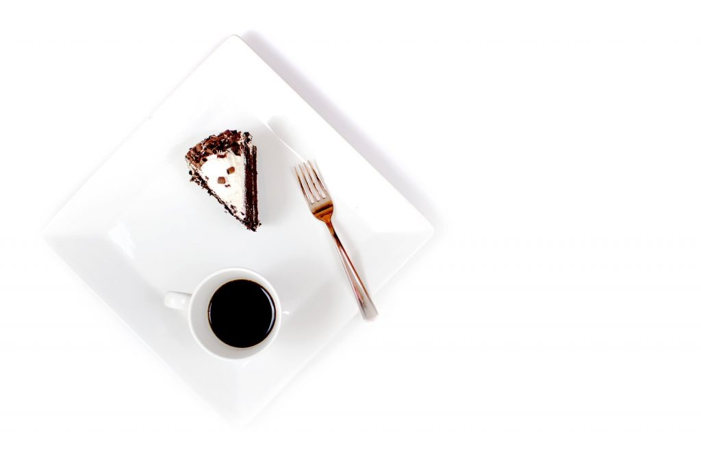 chocolate cake on plate with coffee and fork