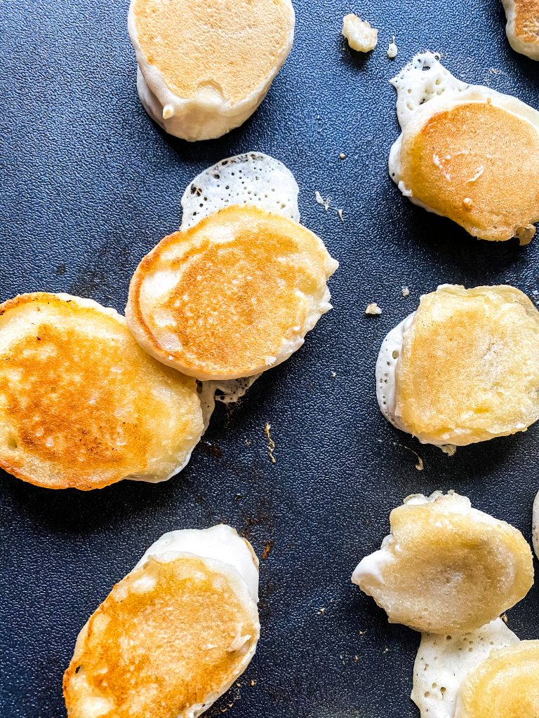 pancake dippers cooking on griddle