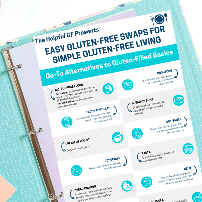 picture of the printable easy gluten free swaps guide