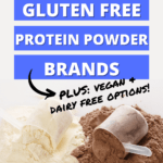 vanilla and chocolate protein powder scoops spilling on table with headline text