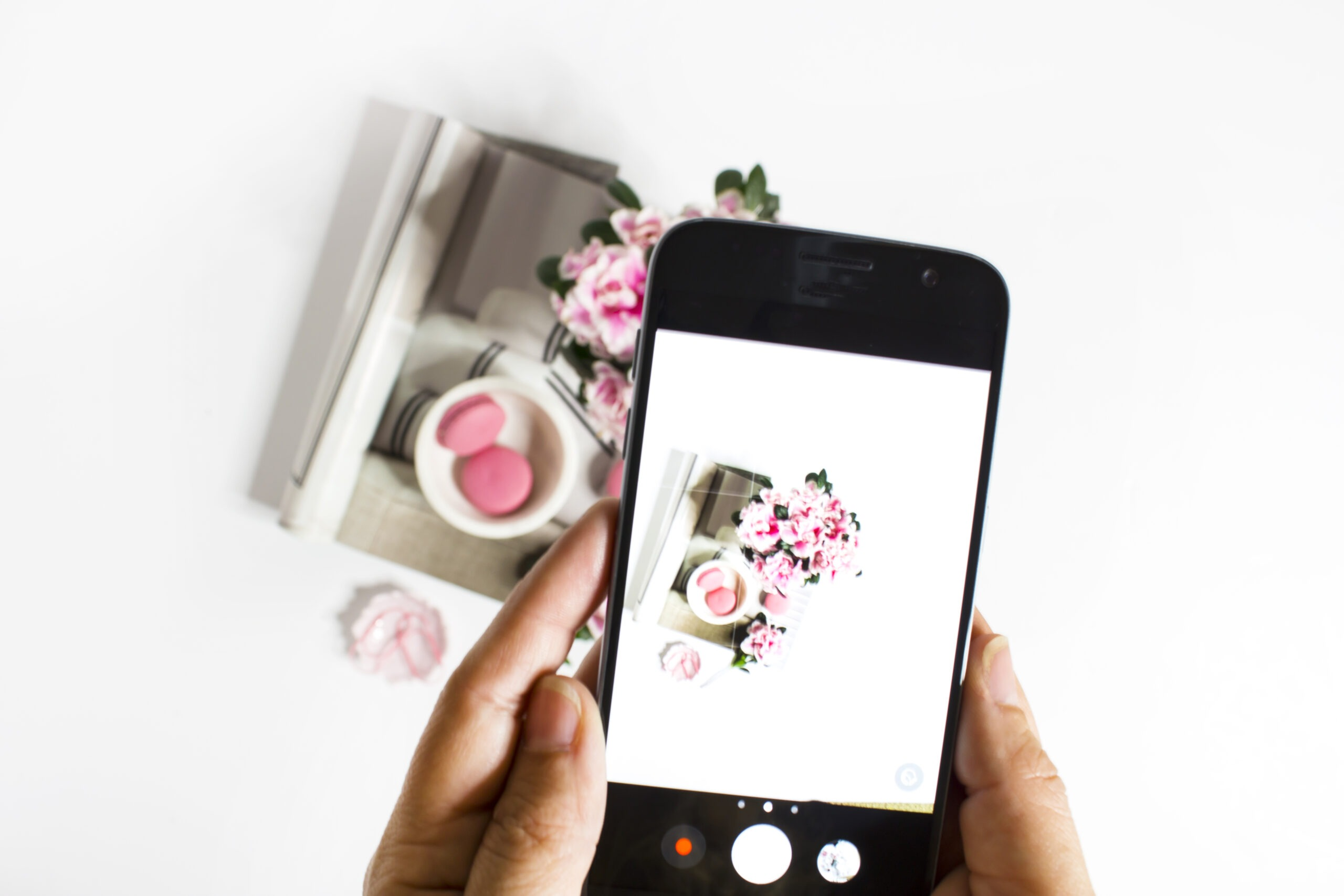 taking picture of flatlay with a cellphone camera