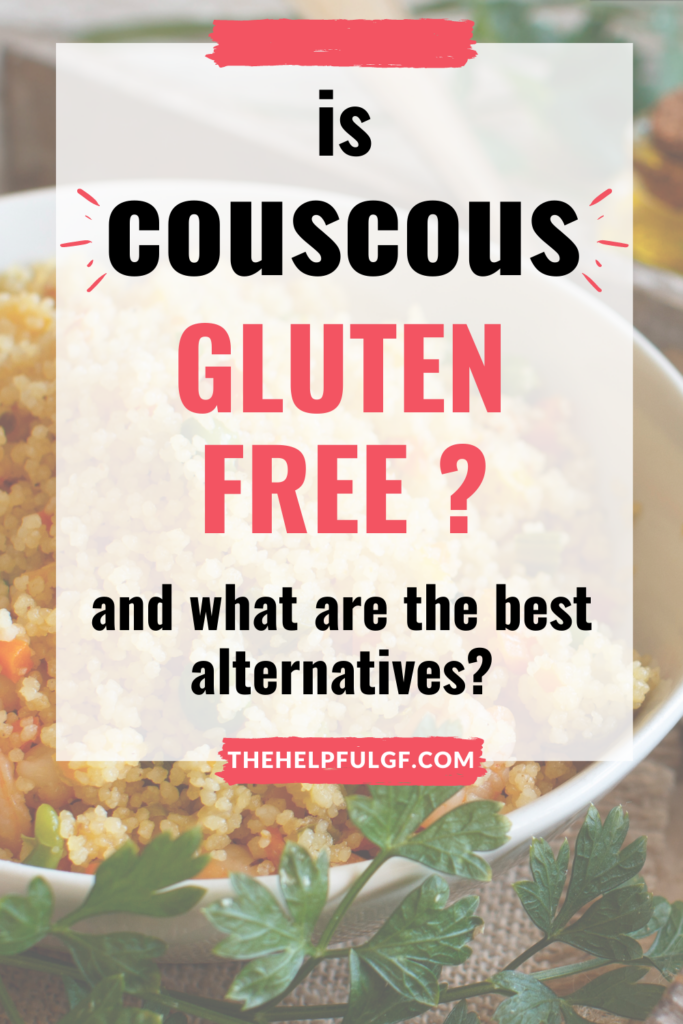 couscous salad in bowl with texts for gluten free alternatives