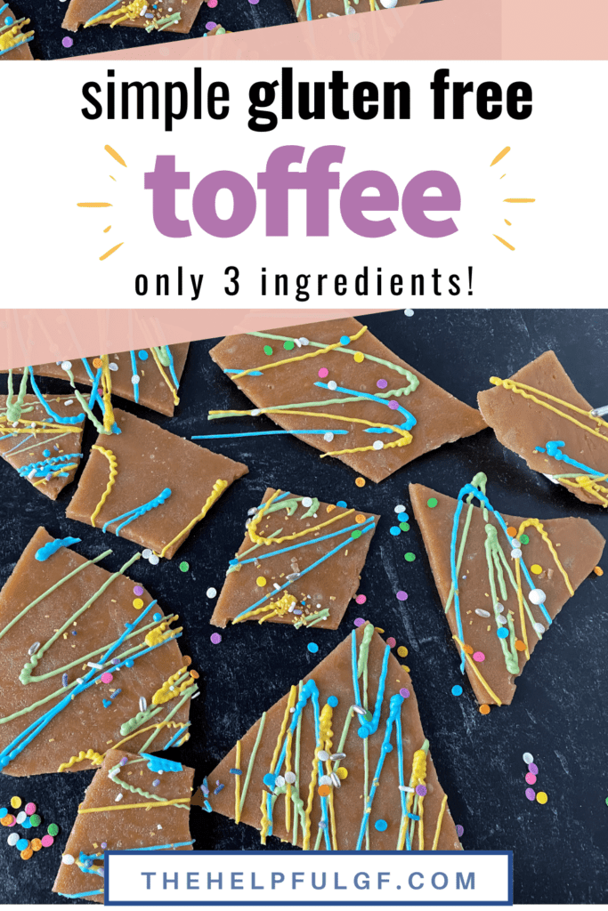 pin image with 3 ingredient toffee with colored chocolate and sprinkles