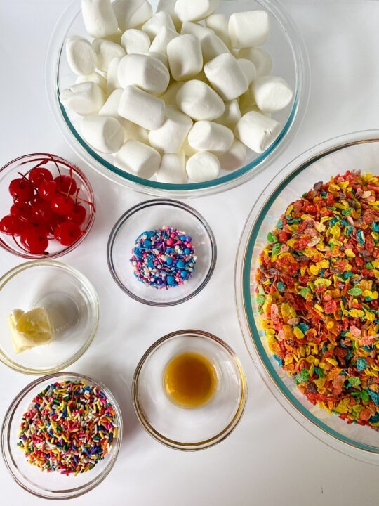 Ingredients for Fruity Pebbles Ice Cream Sundaes: fruity pebbles, marshmallows, sprinkles, vanilla, butter, cherries